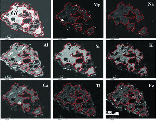 Backscatter SEM images of a vesicular glass particle and accompanying element distribution maps derived from EPMA data. Gl, volcanic glass particle with vesicules; dotted line identifies the boundary between volcanic glass and area where it has altered to allophane. The element distribution images of Mg, Na, K and Ca indicate that these elements are absent or occurring in very low concentrations in this alteration zone; this suggests leaching from the glass during the alteration process. The element distribution images of Al, Ti and Fe suggest that they have been enhanced in this alteration zone.