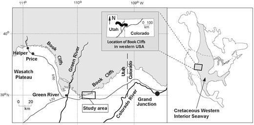 Location map showing the Book Cliffs in Utah and the study area reported here.