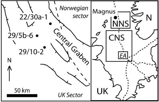 Location map showing the oilfield boreholes for which illite particle size and compositional data are available, and the Magnus oilfield. NNS = Northern North Sea; CNS = Central North Sea; N = Norway; EA = enlarged area (on left).