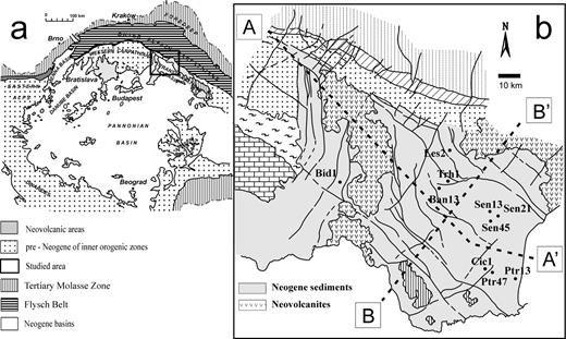 (a) Location of the East Slovak Basin in the Pannonian system of Neogene basins (after Kováč et al., 1995), and (b) Enlargement of the square of map (a) with the location of the studied boreholes in the basin. The longitudinal and transversal traverses of the basin shown in Fig. 2 are outlined by the lines A–A′ and B–B′, respectively (after Honty et al., 2004).