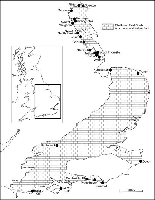 Distribution of the Upper Cretaceous Chalk and the Upper Albian Red Chalk in the UK showing locations mentioned in the text. The Red Chalk is restricted to Hunstanton and the area to the north.