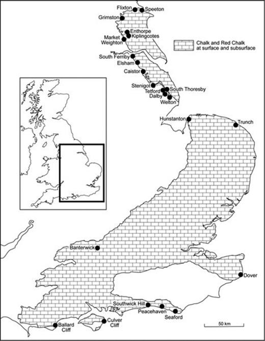 Distribution of the Upper Cretaceous Chalk in the UK showing locations mentioned in the text.
