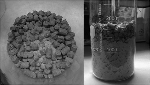 Emplacement of the bimodal blend in a flask in the laboratory. The silica sand was added after the pellets, without vibration or compaction.