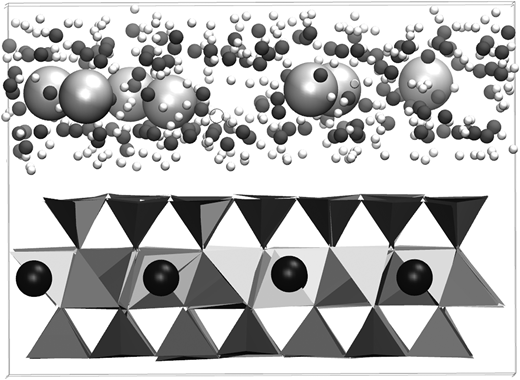 A snapshot of the MD simulation box: Si (tetrahedra), Al (octahedra), Mg (black), O (dark grey), H (white) and Ca (light grey).