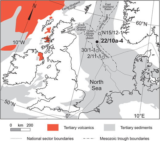 Map showing the location of North Sea study site well 22/10a-4 and other sites described in this study in relation to the main Mesozoic structural elements and distribution of Tertiary sediments and volcanics (modified from several maps from King, 2016).