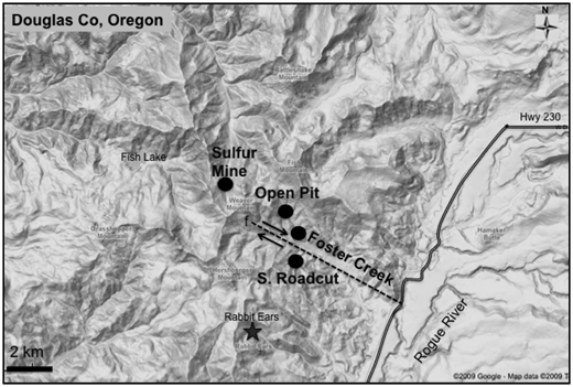 Field area of the Oregon Mineral Technologies deposit and major sites sampled.