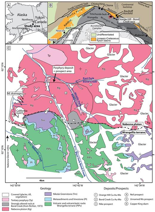 Geologic framework of the Orange Hill-Bond Creek study area. A) Location of study area with box outlining area shown in B. B) Generalized terrane map showing flysch basins and relationship to Wrangellia, modified from Goldfarb et al. (2013). C) General geology of the study area. Geology modified from Richter (1973) and Wilson et al. (2015).