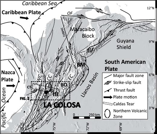 Digital elevation model (in gray) with location of the La Colosa project and major tectonic features (simplified after Acosta et al., 2004; Cortés and Angelier, 2005; Ingeominas, 2006). Abbreviations: BF = Boconó fault, BO = Bogotá, BM = Bucaramanga, CC = Central Cordillera, CT = Caldas tear (after Vargas and Mann, 2013), EC = Eastern Cordillera, IB = Ibagué, IBF = Ibagué fault, OF = Oca fault, PF = Palestina fault system, RFS = Romeral fault system, SMBFZ = Santa Marta-Bucaramanga fault zone, WC = Western Cordillera.