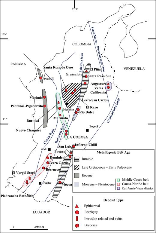 Magmatic and mineralized belts of Colombia, showing known gold deposits. Modified from Sillitoe (2008) and Leal-Mejia (2011).