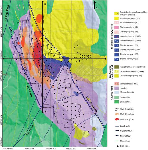 Geologic map of La Colosa Au-porphyry deposit, illustrating intrusion stages and pulses of La Colosa porphyry stock, country rock, faults, and gold-grade envelopes. Based on drilled boreholes and surficial exposures mapped by La Colosa geology department and IC-Consulenten, 1:5,000 scale. A-A' = east-west profile (439000 mN), B-B' = north-south profile (445300 mE) (WGS 84 UTM zone, 18N projection).
