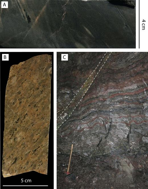 Photographs of facies in the stratigraphic hanging wall of the stratiform Zn-Pb ore. A: Gray rhyolitic ash-siltstone. B: Feldspar + quartzphyric rhyolitic pumice breccia. C: F1 folded, interlaminated calcitic limestone, magnetite, and red rhyolitic ash-siltstone. Minor amphibole and garnet occur along some bands, and epidote occurs within a crosscutting fault. Hammer for scale is 63 cm long.