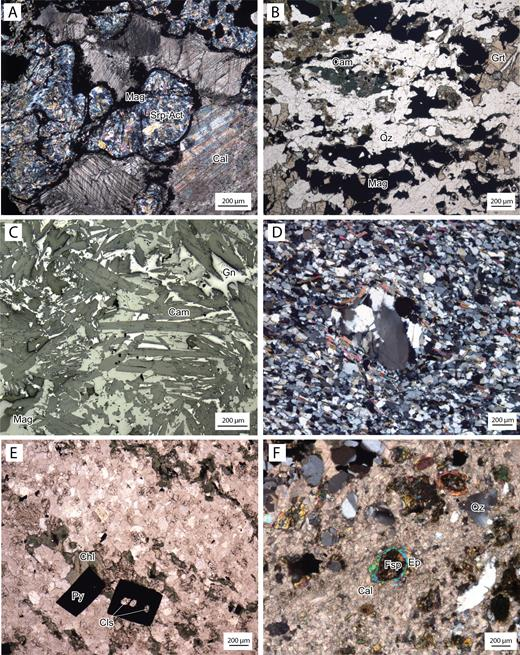 Photomicrographs of A: Lekeberg iron formation, constituting magnetite (Mag) veining and rimming serpentine-actinolite intergrowths (Srp-Act) in a calcite (Cal) groundmass. The serpentine-actinolite intergrowths are interpreted as products of retrograde alteration of former olivine. Sample LK20160101. B: Lovisa Fe formation. Heavily disrupted and recrystallized magnetite (Mag) laminae in a quartzose (Qz) groundmass. Anhedral magnesiohornblende (Cam) and garnet (Grt) accompanies magnetite, with the garnet commonly forming delicate rims around magnetite lenses. Sample LK20150024. C: Lovisa Fe formation. Intergrown magnesiohornblende, magnetite, and galena (Gn). D: Recrystallized quartz phenocryst in weakly sericite-altered massive feldspar + quartzphyric rhyolite stratigraphically ca. 25 m below the Lovisa Zn-Pb deposit. Sample LK20150036. E: Clinohlore (Chl)-Pyrite (Py)-Celsian (Cls) alteration patches in pyritic rhyolitic silt-sandstone directly strati-graphically below the Lovisa Zn-Pb deposit. Sample LK20150081. F: Calcite-rich band in the interlaminated calcitic limestone (Cal), magnetite, and red rhyolitic ash-siltstone of the stratigraphic hanging wall. The band carries abundant detrital crystals of quartz (Qz) and feldspar (Fsp). Epidote (Ep) rims and partly replaces original detrital feldspar crystals. Sample LK20150086.