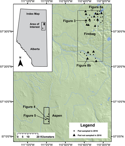 An overview map depicting the location of the Aspen and Firebag areas of interest within the province of Alberta and the locations of individual well pads studied within each area of interest. The 16 well pads marked with triangles were field sampled in 2016 for an accuracy assessment of classification results. Individual well pads presented in subsequent figures are noted.