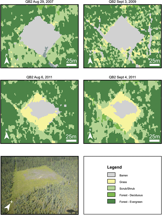 """Time series of satellite-derived land-cover classification for Aspen area of interest well pad 07-23-93-7 accompanied by helicopter photography from 2011 (lower left). Vegetation encroachment is apparent from 2007 to 2011. Within the buffer zones of the two images from 2011, apparent differences in """"scrub/shrub"""" cover are likely a relic of the difference in image off-nadir acquisition angle (QuickBird-2 [QB2]: 19.11° and WorldView-2 [WV2]: 9.92°). This relic is more apparent on a larger scale where north–south-oriented seismic lines are apparent or obscured, depending."""