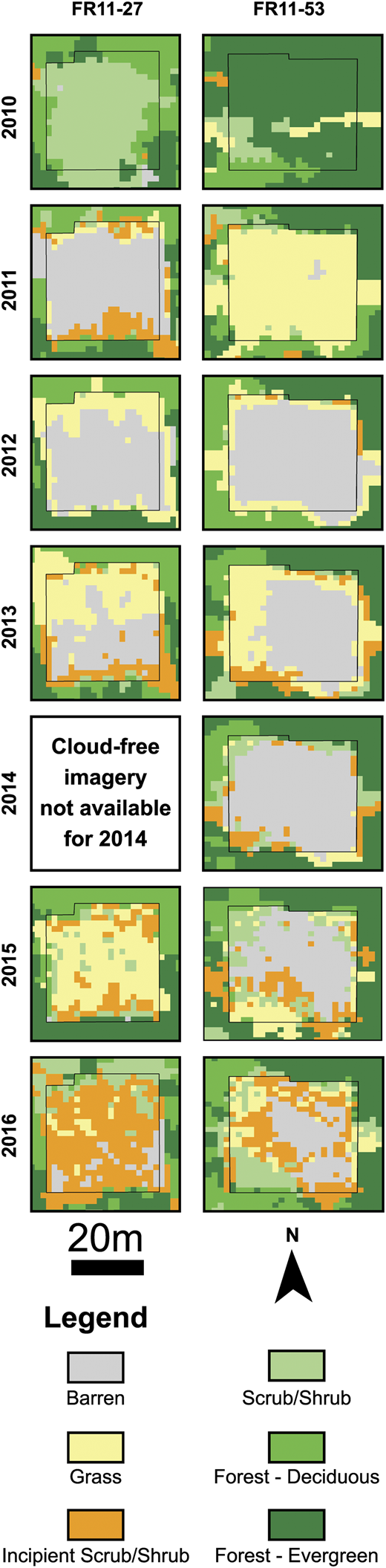 Time-series satellite-derived land-cover classification for two well pads within the Firebag areas of interest. Note that the land-cover legend appears at the bottom of the figure. FR-11-29 (left panels) and FR-11-53 (right panels) are representative relatively rapid and relatively slow revegetation observed across this area of interest, respectively. The 2010 land-cover classification represents the well pads prior to disturbance, 2012 data represent the well pads 2 yr after disturbance, and the 2016 land-cover classification represents the well pads 6 yr after disturbance.