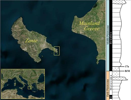 "(left) Satellite images showing the location of the Quaternary marine sequence studied by high-temperature post-infrared infrared stimulated luminescence (pIR-IRSL). The sequence location (indicated by the yellow box on southeast Zante Island) is in the central Mediterranean off the coast of mainland Greece. (right) A simplified illustration of the Early–Middle Pleistocene stratigraphy for this marine sequence. The Bruhnes–Matuyama boundary (B/M) and subsequent geomagnetic excursion known as ""17a"" are indicated. Satellite images © Harris Corp, Earthstar Geographics LLC, SIO, © 2015 Microsoft Corporation."