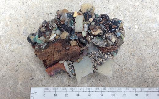 Plastiglomerate from Kamilo Beach (Hawaii, USA). Photo by Patricia Corcoran, University of Western Ontario