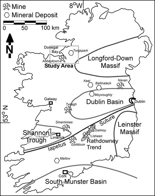 Map of the major tectonic provinces and sedimentary basins of Ireland. The region of study is indicated. Modified from Gregg et al. (2001).