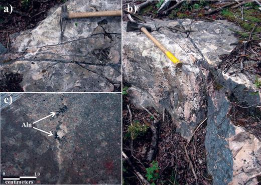 a. and b. Photographs of hematite-carbonate-quartz stringers cross cutting Lorrain Formation arkose along the southeastern margin of the Merico- Ethel property. c. Secondary allanite-Ce (aln) developed within calcite + quartz veinlets / microfractures in Lorrain Formation arkose. Lighter coloured area corresponds to calcite + quartz alteration of the arkose.