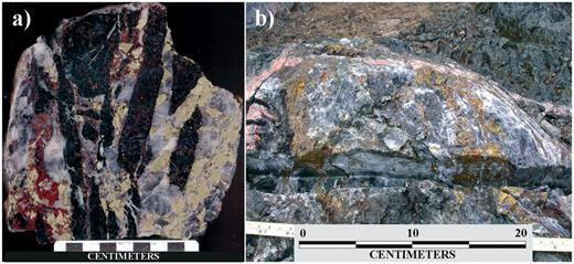 Photographs of: a. Brecciated vein material consisting of angular Nipissing diabase fragments, chalcopyrite, and hematite set in calcite; b. Ductilely sheared chalcopyrite and calcite. Both images were taken from the western portion of the Merico vein system, just west of the exploration shaft.