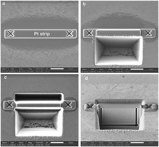 SE images of the basic FIB milling steps. a) Deposition of platinum onto the area the TEM foil will be cut to protect the foil from sputtering. Milling of crosses for pattern recognition during the automated milling process. b) Trench milled with high current (2700 pA) in front of the foil. c) Rough milling of trenches in front and in the back of the foil accomplished. Bright contrast is due to redeposited material. d) Specimen is tilted at 45° with respect to the ion beam and foil thickness is about 500 nm. At that stage of the automated milling process the foil is cut free at its base and at both sides leaving a small strip of material to keep the foil in its position.