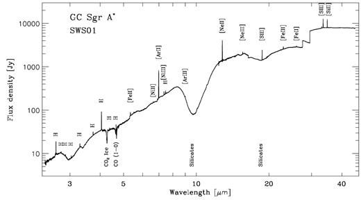 The spectrum of the dust along the line of sight towards the Galactic Centre in units of Janskys. The major dust absorption features are the broad bands at ≈ 3 (H2O ice OH stretching), 3.4 (hydrogenated amorphous carbon aliphatic CH stretching), 10 and 20 μm (both due to amorphous silicates) and also a narrower CO2 solid-state ice absorption. The gas phase CO (1–0) line is also seen in absorption. Note that the discontinuities near 30 μm are artifacts. Also seen in the spectrum are emission lines of hydrogen (H) and ionic fine structure lines shown in square brackets, where [SIII] indicates a S++line, [FeII] a Fe+ line etc. (Reproduced from Lutz et al., 1996 with permission from A&A).