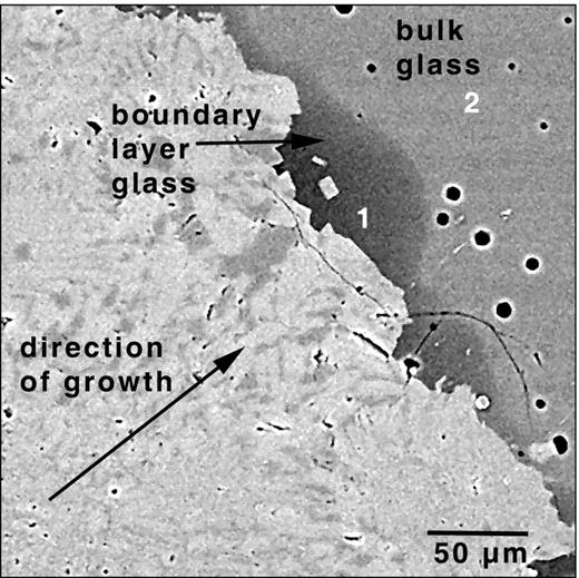 Backscattered electron image of experiment PEG-25, a metaluminous haplogranite (200 MPa H2O minimum composition) + 3 wt.% B2O3. A boundary layer of melt (quenched to glass) is at crystal growth front boundary. Crystal growth direction shown by arrow. Composition of bulk melt (point 2) and the B2O3 and H2O enriched boundary layer (point 1) is respectively: SiO2, 68.94 and 50.88; Al2O3, 12.01 and 7.79; Na2O, 5.10 and 6.66; K2O 3.37 and 2.90; B2O3 2.93 and 18.30 and H2O 7.61 and 13.42 wt.% (after London, 2005a).