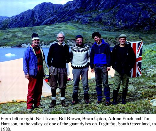 From left to right: Neil Irvine, Bill Brown, Brian Upton, Adrian Finch and Tim Harrison, in the valley of one of the giant dykes on Tugtutôq, South Greenland, in 1988.