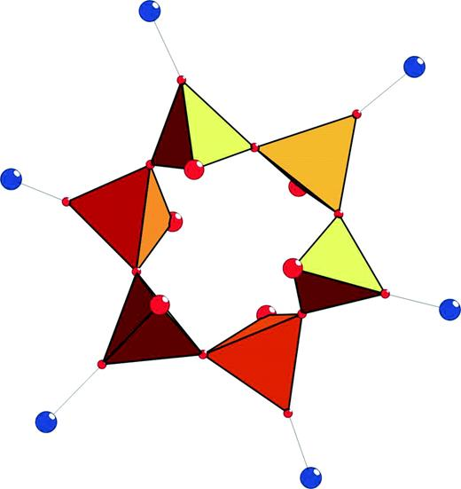 """Lovozerite-type ring [Si6O12(O, OH)6]; small circles are O atoms forming the bridges Si–O–Si and Si–O–M, large circles in """"pendent"""" vertices of Si tetrahedra represent (O, OH), large circles connected with small circles are M cations."""