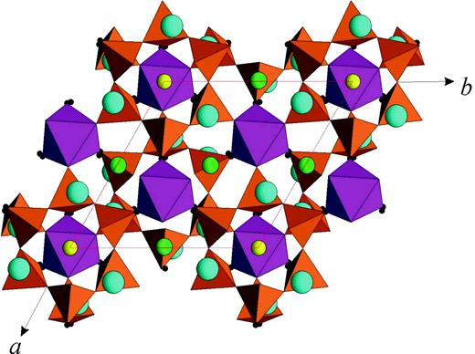 Structure of lovozerite (after Yamnova et al., 2001a): Si tetrahedra, M octahedra, C (small circles), A (medium circles) and B (large circles) sites are shown.