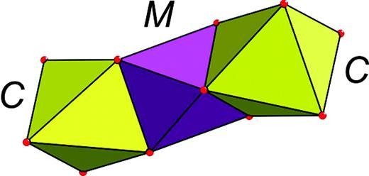 Octahedral cluster MC2 in the lovozerite-type structure.