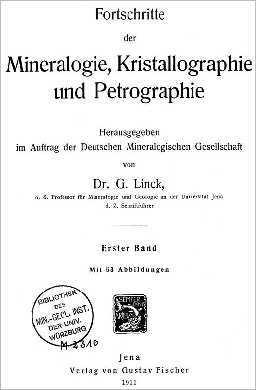 Title page of the first volume of Fortschritte der Mineralogie.