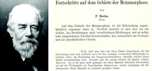 Friedrich Becke (1911): Fortschritte der Mineralogie, v. 1, p. 221–256. Introductory sentence and part of the footnote on page 226.