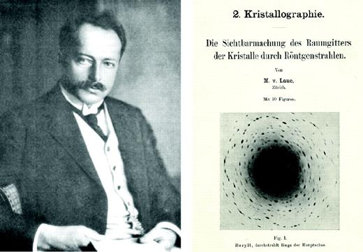 Max v. Laue (1914): Fortschritte der Mineralogie, v. 4, p. 43–72, with Laue diagram of beryl (reduction of size to 60 %).