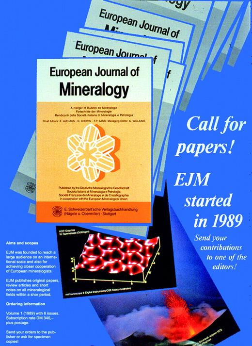 Call for papers to the new European Journal of Mineralogy.