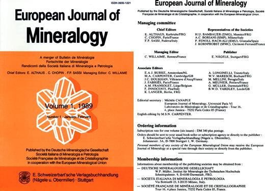 Left: Front cover of number 1 of volume 1 (1989) of the European Journal of Mineralogy (earlier format 24 × 17 cm). Right: Starting managing committee, ordering and membership information, respectively.