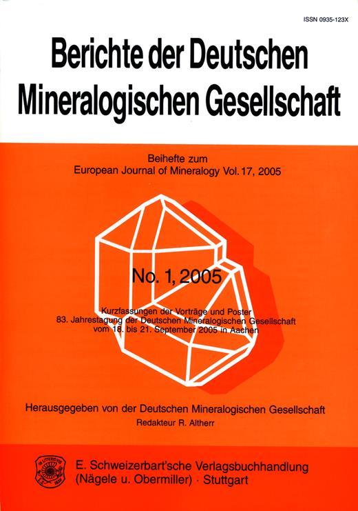 Front cover of Berichte der Deutschen Mineralogischen Gesellschaft – Beihefte zum European Journal of Mineralogy (format 24 × 17 cm).