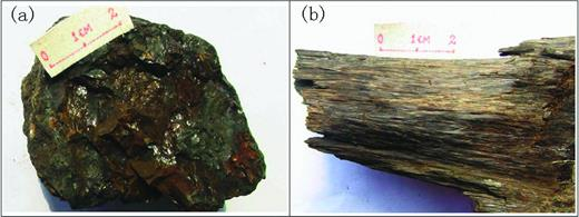 Macroscopic forms of ferrisepiolite aggregates: (a) brown earthy aggregate, poorly crystallized, (b) brown fibrous aggregate, well crystallized.