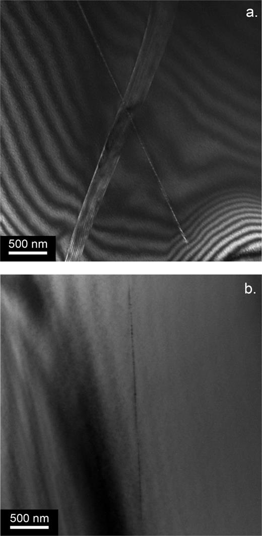 Sample B8789–TEM observation on a thin foil extracted from the thin section mapped on Fig. 1. (a) This sample contains a lot of microcracks. One of them is crossed here by a long straight dislocation. Weak-beam dark-field micrograph with g: 101̄1. (b) Another long straight dislocation. Note the contrast in the core. Bright-field micrograph with g: 101̄1.