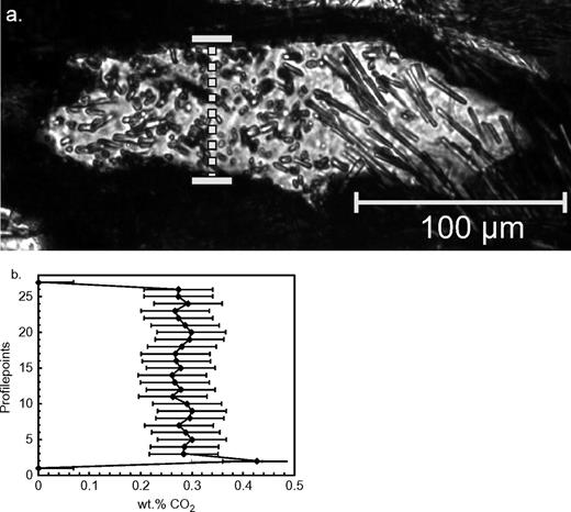 a, b: a. Microphotography of a cordierite prophyroblast in transmitted polarized light. The vertical line marks the profile containing 27 measurement points over a distance of 60 μm. The linear structures are fibrolite inclusions. b. CO2 contents (wt%) from top to bottom across the cordierite prophyroblast, calculated by the I1382/I1182 intensity ratios, Equation (2b) and a correction factor for XFe ~ 0.55. The stippled line interconnects the data points for clarity purposes only.