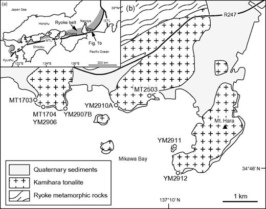(a) Distribution of the Ryoke belt in southwest Japan and (b) geological sketch map of the Hazu area, central Japan (simplified part of Geological Survey of Japan AIST, 2010). Abbreviations used are as follows: MTL, Median Tectonic Line; ISTL, Itoigawa-Shizuoka Tectonic Line.