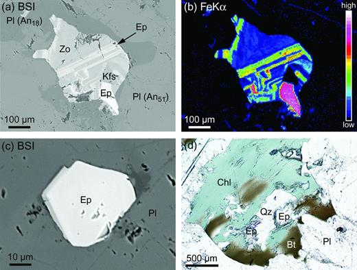 (a and c) Back-scattered electron images, and (b) Fe-Kα X-ray map of epidote-group minerals included in plagioclase, and (d) photomicrograph of secondary epidote in chlorite pseudomorph after biotite. Abbreviations: An, anorthite content; Bt, biotite; Chl, chlorite; Ep, epidote; Kfs, K-feldspar: Pl, plagioclase; Qz, quartz; Zo, zoisite.