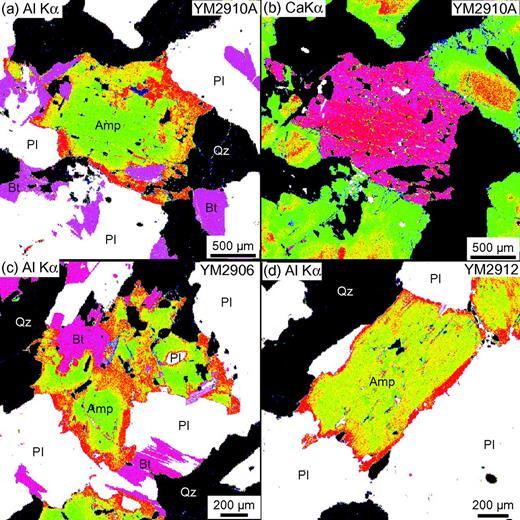 (a, c, and d) Al-Kα and (b) Ca-Kα X-ray maps of amphibole and other constituent minerals of tonalites from the Hazu area. Abbreviations: Amp, amphibole; Bt, biotite; Pl, plagioclase; Qz, quartz.
