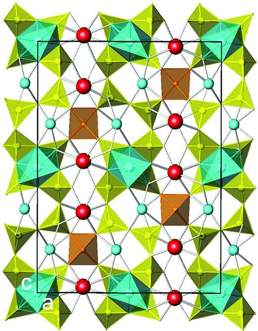 The tetrahedral sheet in nordite-(La) (Si tetrahedra yellow, (Zn, Mg, Fe)O4 tetrahedra orange; Bakakin et al., 1970). The interlayer octahedron (Na,Mn)O6 between the 4-membered ring of SiO4 tetrahedra is shown in light blue. Interlayer Na is indicated by blue spheres while interlayer (La,Ce) and (Sr,Ca) sites are colored red.