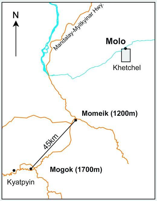 Localization of the Molo area (gray box), type locality of perettiite-(Y) (modified from Peretti et al., 2015).