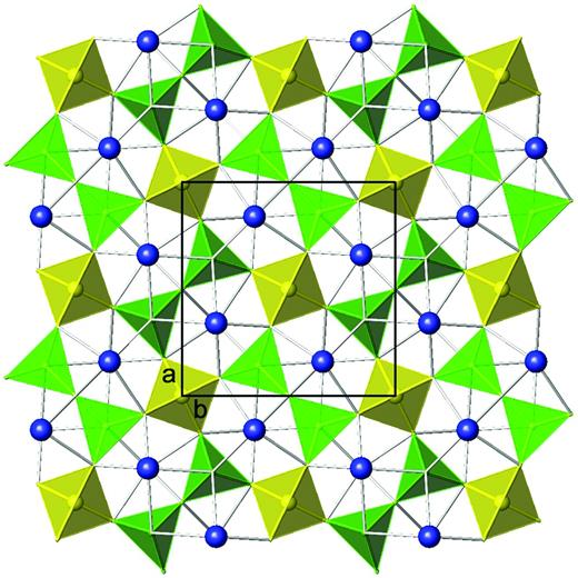 The okayamalite (melilite group) tetrahedral sheet (Giuli et al., 2000). Tetrahedral SiO4 and BO4 units are indicated in yellow and green, respectively. Ca interlayer sites are in blue. Unit-cell outlines are shown. (online version in color)