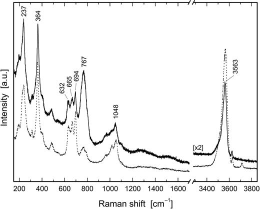 Raman spectra of fluor-schorl (solid line) and schorl (dotted line), both from Zschorlau, Saxony, Germany.