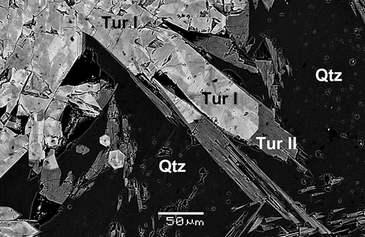 Back-scattered electron (BSE) image of bosiite (Tur I) and oxy-dravite (Tur II) in quartz (Qtz) from the Darasun gold deposit.
