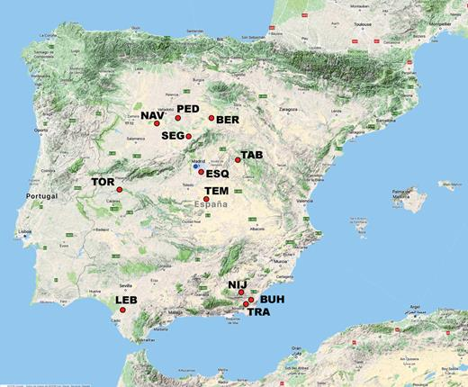 Location map of the studied deposits in the Iberian Peninsula.