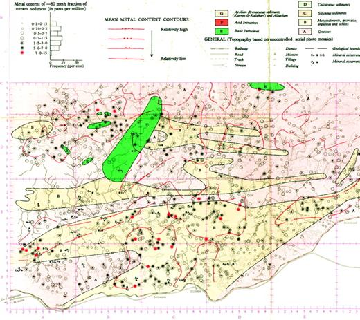 5a23ad69ed77 Portion of a point-symbol map of the concentration of cold-extractable  copper (